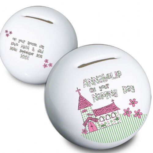 Personalised Pink Church Money Box